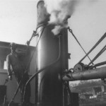 Bob Adams blows whistle at Whitby first steam up