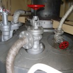 main steam valve on top of the boiler